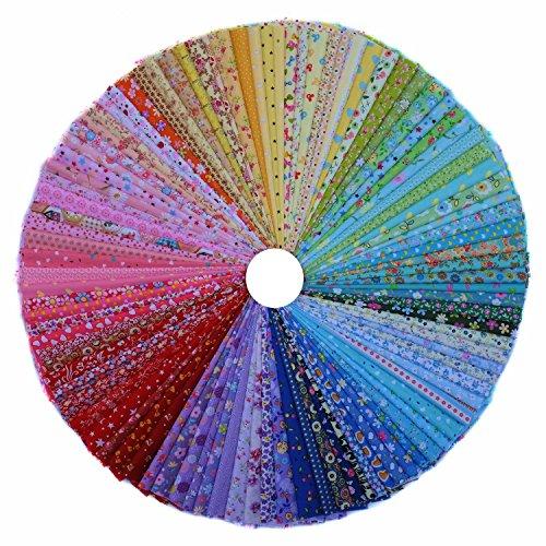 Grannycrafts 100 Stücke 10x10cm Baumwollstoff Tuchbündel Textilien Patchwork Stoffe DIY Basteln Quilt Gewebe Quadrate Baumwolltuch Stoffpaket Zum Nähen Mehrfarbige Serie