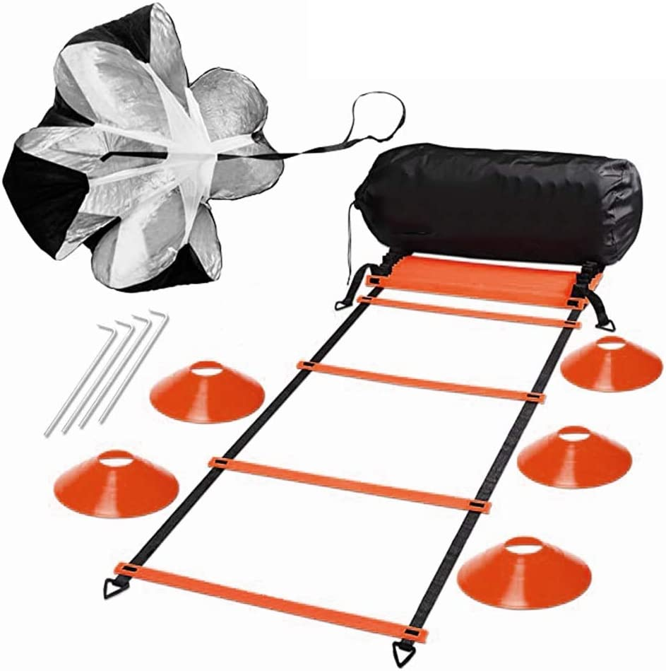 H&H 20ft Speed and Agility Ladder Training Set, Include 5 Disc Cones, Resistance Parachute, 4 Steel Stakes for Outdoor Workout, Improves Coordination, Speed, Power and Strength(Orange) : Sports & Outdoors