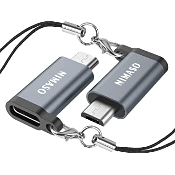 Nimaso TYPE C to Micro USB 変換アダプター【56kΩレジスタ搭載 2個セット】 Xperia、Galaxy、Nexus、HUAWEI等Micro USB設備対応