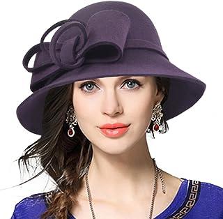 10345b1f1 VECRY Women's Fascinator Wool Felt Hat Cocktail Party Wedding Fedora Hats