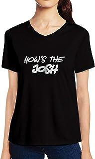 Pooplu Womens How's The Josh Cotton Printed V Neck Half Sleeves Multicolour Tshirt. Quotes, Slogan, Trending, Army, URI Tshirts