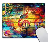 Smooffly Gaming Mouse Pad Custom,Colorful Collage with Music Notes and The Violin Clef Personalized Design Non-Slip Rubber Mousepad