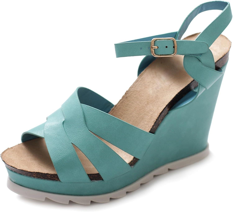 Ollio Women's shoes Wedge High Heel Platform Strap Sandal