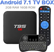 Android 7.1 TV Box, EVANPO 2GB/ 16GB Quad Core Processor Support 3D 4K H.265 Smart Boxes Android TV Player Set Top Box with Wireless Mini Keyboard (Backlit)