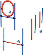 Pawhut Pet Agility Training Equipment Dog Play Run Jump Obedience Training Set Adjustable (Pole + Hoop + Hurdle)