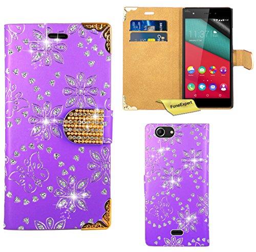 FoneExpert® Wiko Pulp 4G Handy Tasche, Bling Diamant Hülle Wallet Hülle Cover Hüllen Etui Ledertasche Premium Lederhülle Schutzhülle für Wiko Pulp 4G