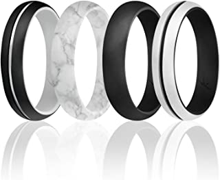 ROQ Silicone Rings for Women Thin Womens Silicone Rubber Wedding Rings Bands - Engraved Middle Line - Can Be Used as Stack...