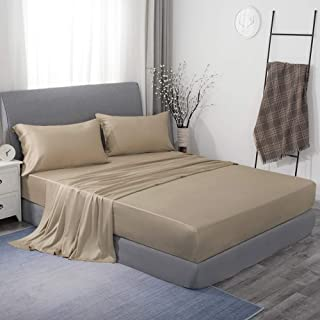 JSD Tencel Sheet Set King Lyocell Sheets 4 Piece Silky Soft Eucalyptus Sheets Hotel Bedding Sheets Beige 16