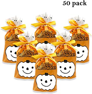 50Pcs Halloween Candy Bag Pumpkin Goody Bags - Happy Halloween Drawstring Gift Wrapping Plastic Bags for Halloween Ghost Party Decoration Treat Gift, Party Favors, Snacks Storage, Children, Event Supplies