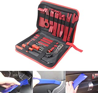 Car Trim Removal Tool, Lesgos 25Pcs Auto Audio Removal Kit With Storage Bag, Molding Upholstery Marine Fastener Removal Installer And Repair Kits For Car Radio Dash Door Window