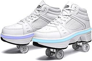 HANHJ Rullskridskor kvinnor LED utomhusskridskor deformering rullskor 2 i 1 justerbara infällbara USB-rullar skor för pojk...