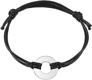 Sunligoo Bracciale in argento con corda elastica regolabile, bracciale intrecciato per uomo e donna