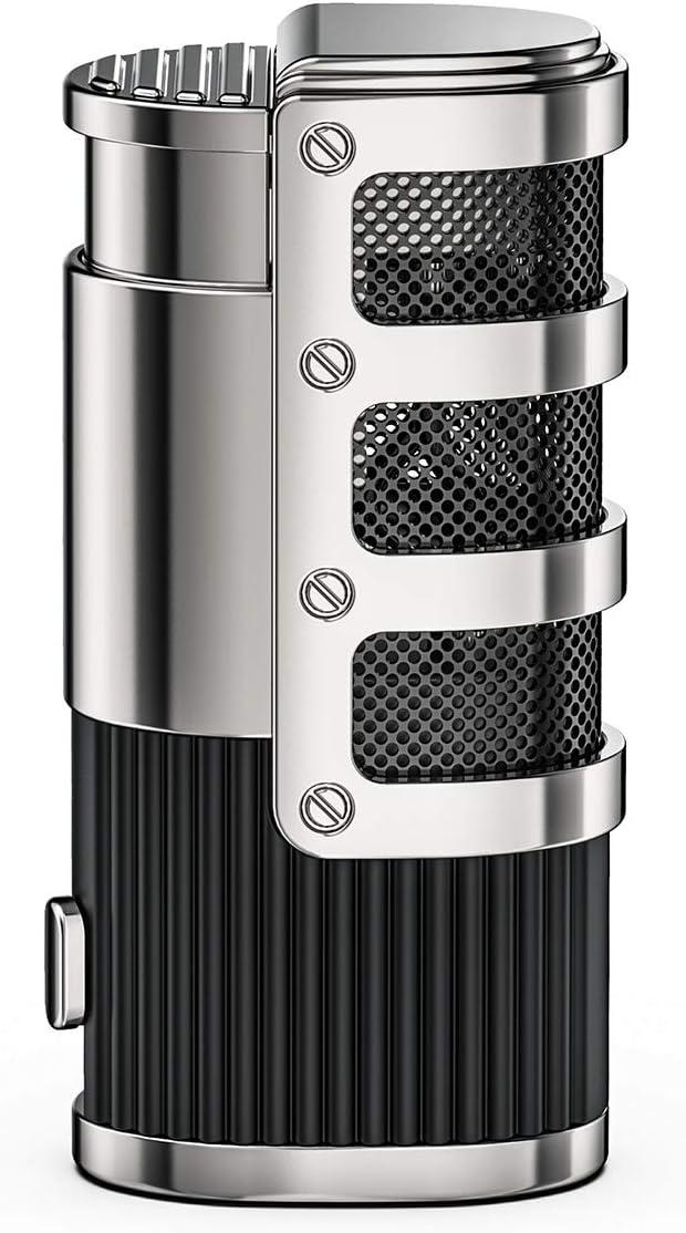 VVAY Encendedor de Gas, Encendedor de Cigarros con Antorcha de Triple Llama, Encendedor de Cigarros de Butano Ajustable Recargable a Prueba de Viento con Elegante Caja, Negro