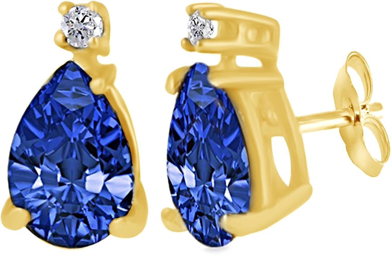 Ohrstecker in Tropfenschliff, blauer Saphir mit natürlichem Diamanten, 14 Karat (585) massives WeiGold