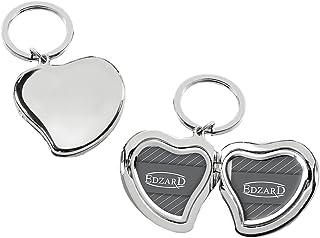 EDZARD Schlüsselanhänger Herz mit Fotorahmen, Fotoanhänger, zum Aufklappen, versilbert und anlaufgeschützt, für 2 Fotos ca. 3 x 3 cm