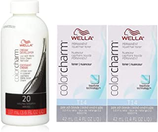 Wella Color Charm T14 Pale Ash Blonde 2-Pack with CC Cream 20 Developer 3.6 oz. - COMBO DEAL!