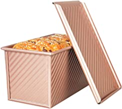 Outgeek Loaf Pan Nonstick Ripple Aluminum Alloy Bread Baking Mold Toast Box with Lid