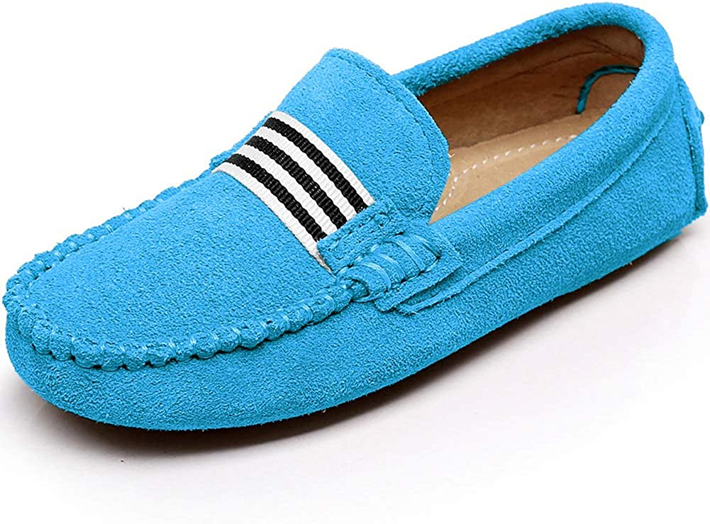 Shenn Boys Cute Slip-On Suede Leather Loafers Shoes S8884