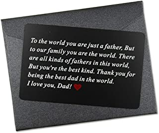 Vanfeis Black Metal Engraved Wallet Insert Card Men Present - Funny Dad Gifts for Fathers Day, Birthday, Christmas from Daughter, Son or Wife - Best Dad Ever Unique Gift Ideas for Him Daddy from Kids