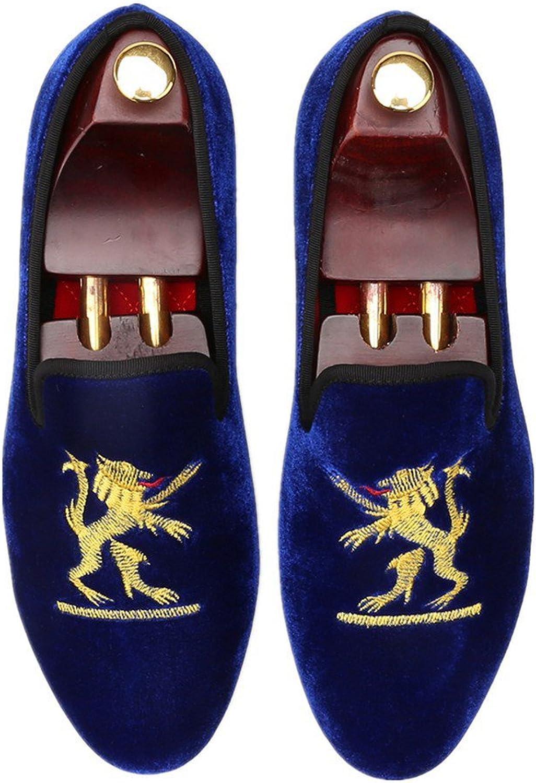 Merlutti Noble Velvet Loafers shoes Lion Crest Embroidered Detailing Vintage Velvet Slip-on Embroidery Flats Smoking Slipper Men's Fashion Red bluee