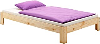 IDIMEX Lit futon Thomas Couchage Simple 90 x 190 cm 1 Place / 1 Personne, en pin Massif Vernis Naturel