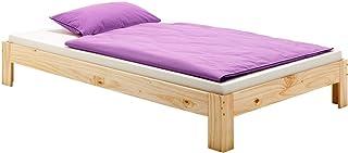 IDIMEX Lit futon Thomas Couchage Simple 90 x 190 cm 1 Place / 1 Personne, en pin Massif Vernis Naturel