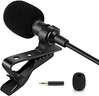 Professional Lavalier Lapel Microphone - Omnidirectional Condenser Microphone for iPhone, Android Phone, DSLR Camera and C...