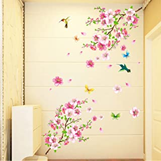 WOCACHI Wall Stickers Decals Large Cherry Blossom Flower Butterfly Tree Wall Stickers Art Decal Home Decor Art Mural Wallpaper Peel & Stick Removable Room Decoration Nursery Decor