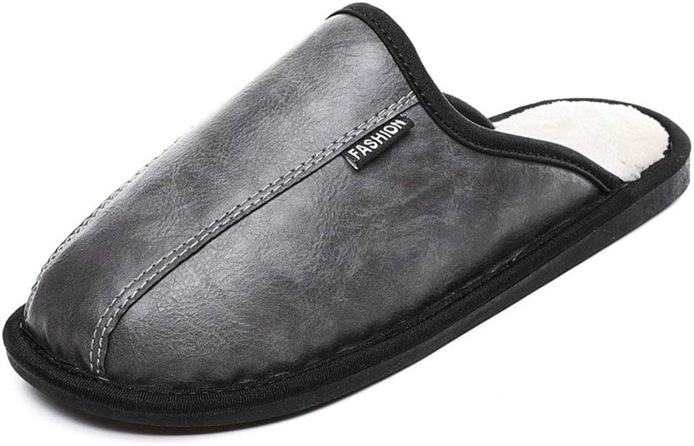 Unisex läder Cotton Slippers Män's skor Inoor Winter Warm Warm Warm Home Non -Slip Wear Drago Dual -Syfte Cotton skor, svart, EU42,43 =27Cm  exklusiv