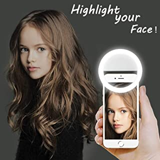 LST Selfie Ring Lighting Rechargeable 38 LED Dimmable Clip Light Portable Laptop Camera Photography Video Lighting Clip for iPhone, Samsung, Tablet, iPad (White)