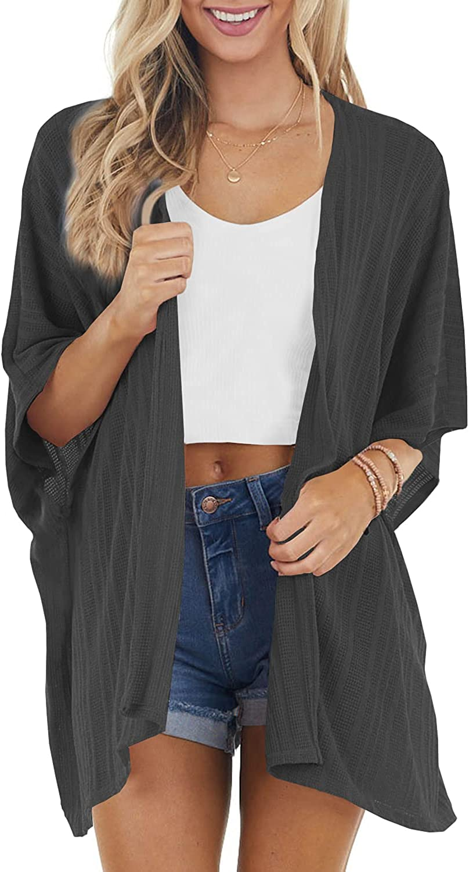 HOSIKA Women's Kimono Cardigan Open Front Solid Casual Loose Batwing Sleeve Knit Sweaters Coat Black XL