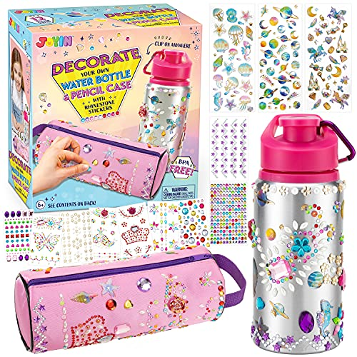 JOYIN Decorate Your Own Water Bottle and Pencil Case with 12 Sheets Adhesive Gems Stickers, Crafts Activity Kit for Kids, Fun Creative Activities, Girls DIY Art and Craft Kits