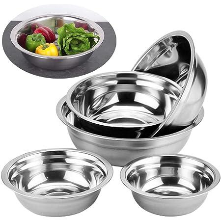 Ziyero Cocina Mezclar Ensalada Cuenco Acero Inoxidable Set Cuencos de Preparación Metal Durable Fácil de Limpiar, para Cocina, Acampar al Aire Libre, ...