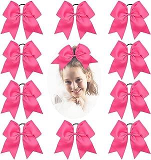 CN Girls Cheer Hair Bow Large Bulk Ponytail Holder for Cheerleading Girl Pack of 10, Hot Pink, 7 inch