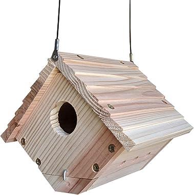 Gray Bunny Traditional Wren House for Outdoor Hanging, Natural Wooden Bird House Garden Patio Decoration, Birdhouse