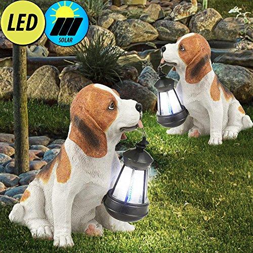 2er Set LED Solar Skulptulampe Aussen Leuchte Hund Garten Hund Tier Motiv Licht