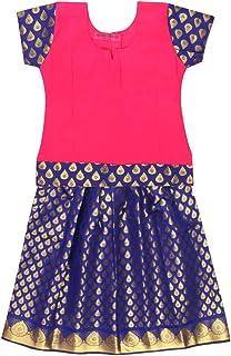 PKD Girls Ethnicwear Pattupavada Lehenga Choli PINK/BLUE