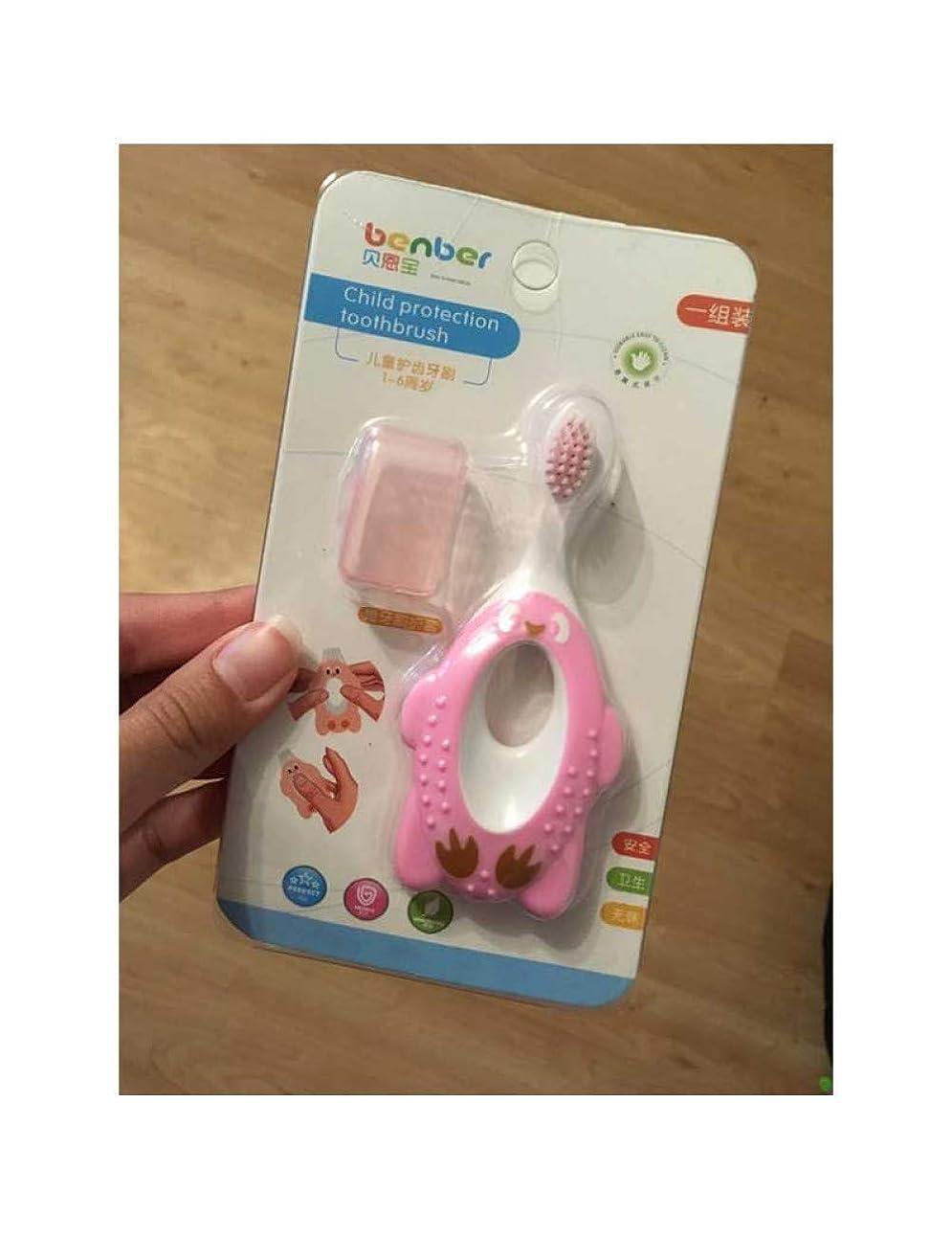 子供の漫画の赤ん坊の柔らかい毛の歯ブラシの子供の歯の訓練の口きれいなペンギンの形、ピンク