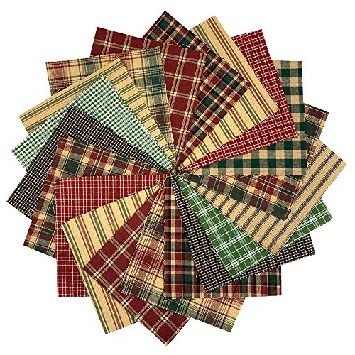 40 Rustic Christmas Charm Pack, 5 inch Precut Cotton Homespun Fabric Squares by JCS