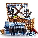 VonShef 4 Person Wicker Picnic Basket Hamper Set with Flatware, Plates...