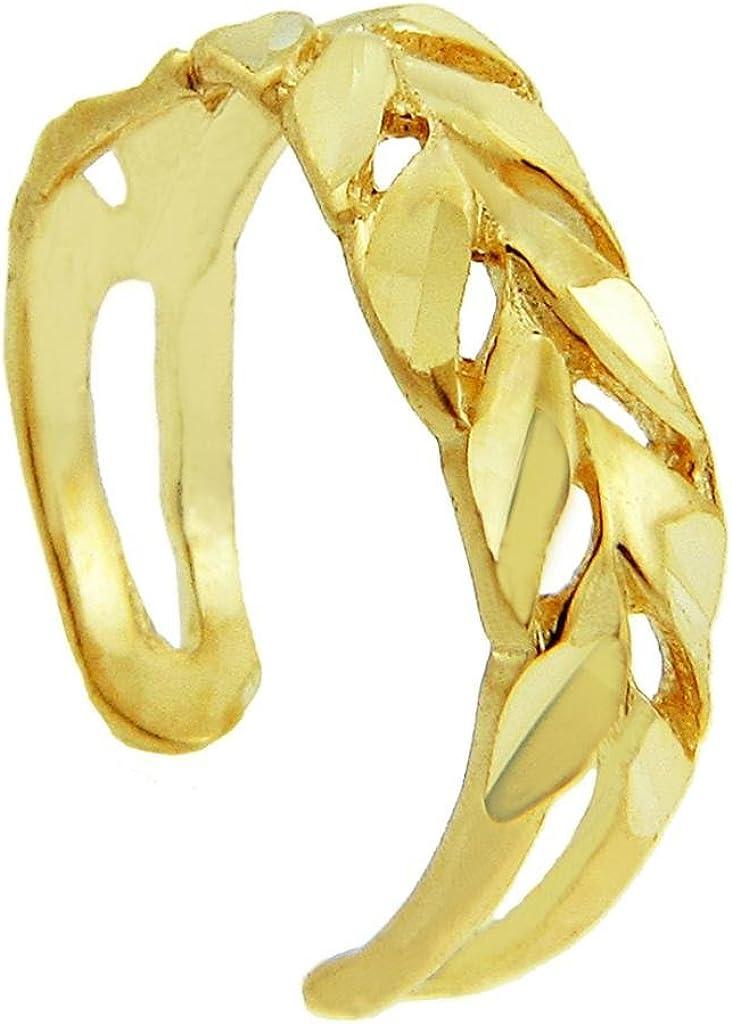 Diamand Cut Yellow Gold Toe Ring
