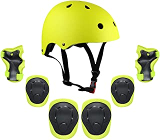 Goofly Kids 7 in 1 Helmet and Pads Set Adjustable Kids Knee Pads Elbow Pads Wrist Guards for Scooter Skateboard Roller Ska...