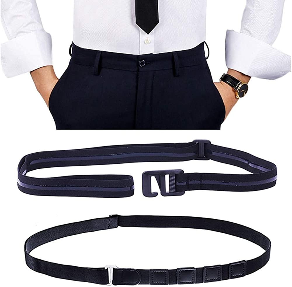 Elastic Shirt Stay for Men, Stretchable and Adjustable Waist Belt with Flexible Comfort and Silicone Touch Points