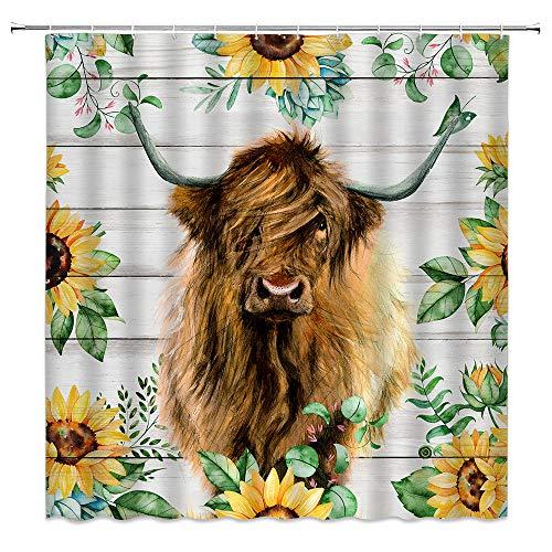 Farm Bull Kuh Duschvorhang Sonnenblume rustikaler Stil Wasserfarben Rind auf Holzbrett lustig kreativ Frühling gelb Blumen Pflanze Bauernhof Kuh Duschvorhang Tier Rinder mit Gänseblümchen Duschvorhang