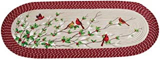 Cardinal Holly Braided Accent Runner Rug - Decorative Seasonal Accent for Any Room