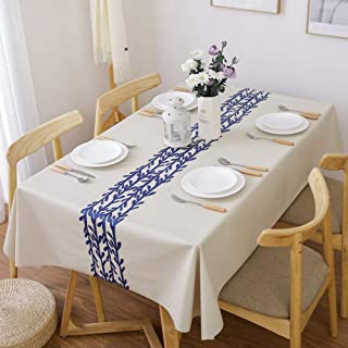 LEEVAN Heavy Weight Vinyl Rectangle Table Cover Wipe Clean PVC Tablecloth Oil-Proof/Waterproof Stain-Resistant-54 x 78 Inch(Rattan)