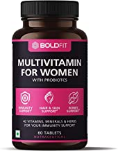 Boldfit Multivitamin For Women With Probiotics Supplement With 42 Vital Ingredients For Immunity, Hair, Skin, Energy & Bone Support - 60 Vegetarian Tablets