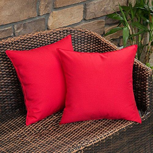 MIULEE Packung von 2 wasserdichte Sofa Kissenbezug Kissenhülle im freien Set Kissen Fall für Sofa Schlafzimmer 18x18 inch 45x45 cm Rot