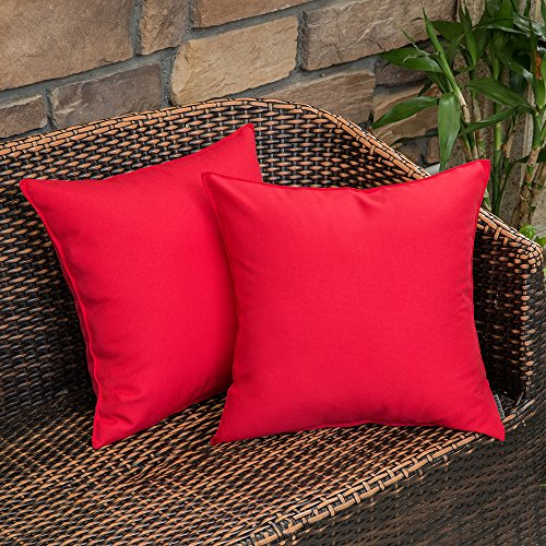MIULEE Pack of 2 Decorative Outdoor Waterproof Pillow Covers Square Garden Cushion Sham Throw Pillowcase Shell for Patio Tent Couch 18x18 Inch Red