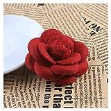 JIWEIER De Gama Alta de Corea Tela Arco de la Flor de la Broche de Cardigan Las Bufandas de Seda de Hebilla de Accesorios de Ropa de Mujer broches para Las Mujeres (Size : Red Flower)